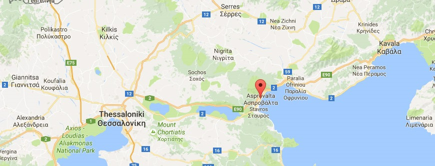 Karte der Ägäis in Asprovalta